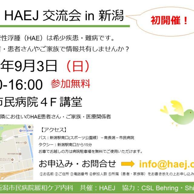 9月3日(日)新潟で交流会開催します